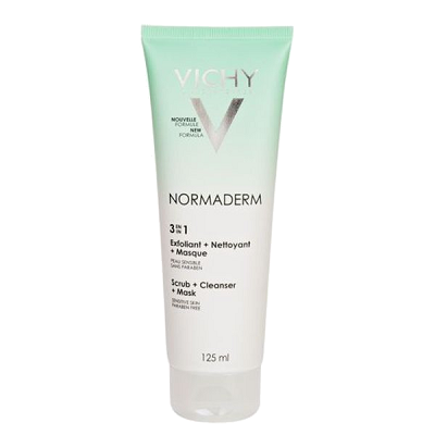 Vichy Normaderm 3 in 1 Scrub + Cleanser + Mask - Sữa rửa mặt tác dụng 3in1