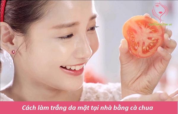 Cách làm trắng da mặt tại nhà bằng cà chua